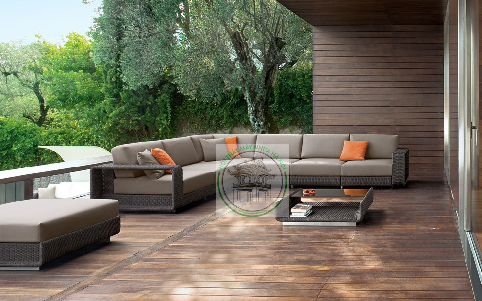 H&N 7 Piece Rattan Deep Seating Group with Cushions SF15